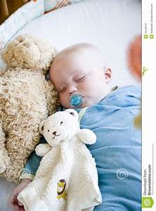 Seven Month Old Baby Sleeping In Crib Stock Image - Image ...