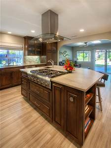 Contemporary, Kitchen, Island, With, Wooden, Cabinets, And, Built, In, Stove