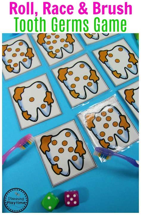 preschool dental health planning playtime 415 | Tooth Germs Roll and Race Game Preschool Dental Health Theme