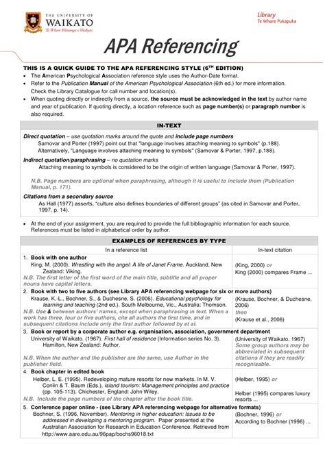Apa 6th Ed Apa Referencing 6th Ed