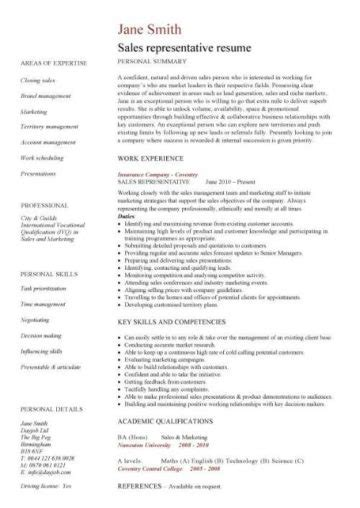 Sle Of A Curriculum Vitae by Curriculum Vitae Sle For Sales Representative