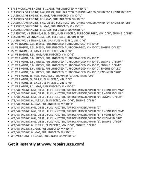 Chevrolet Silverado 2500 HD Repair Manual 2001-2011