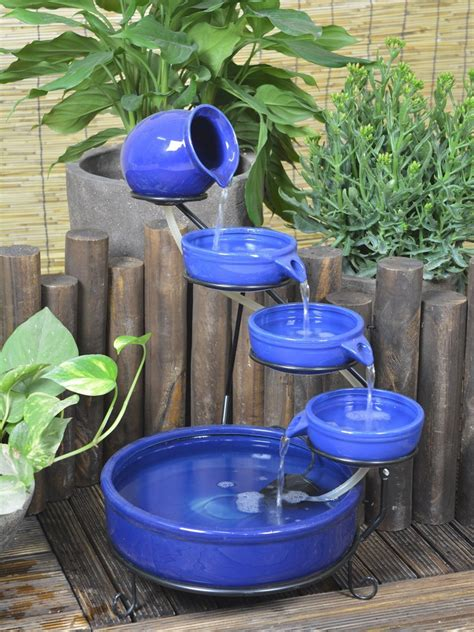 solar powered terracotta cascade with led light water