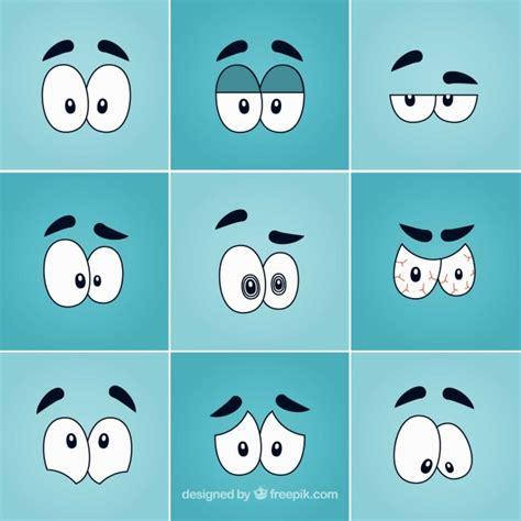 pack de ojos divertidos de dibujos descargar vectores gratis