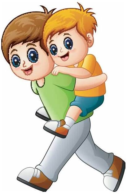 Brother Younger Clip Illustrations Vector Ride Cartoons
