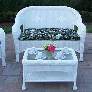 Oakland living resin wicker 2 pc loveseat and coffee for White resin wicker coffee table