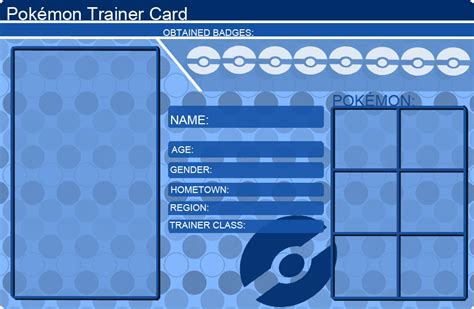 Pokemon Trainer Card Template Blue By Khfant On Deviantart