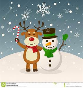 Christmas Snowman And Funny Reindeer Stock Vector - Image ...