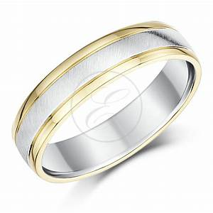 5mm two colour yellow white gold court shape wedding With wedding rings uk