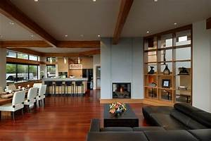 fireplace open plan living dining kitchen modern home With living room furniture victoria bc