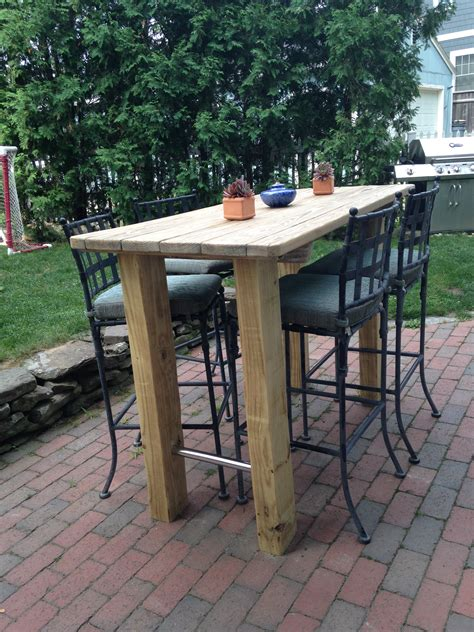 pub height patio table we wanted a bar height table so found an old picnic table