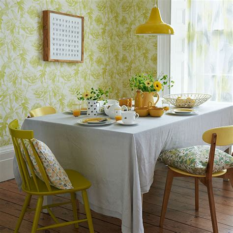 yellow retro dining room  floral wallpaper dining