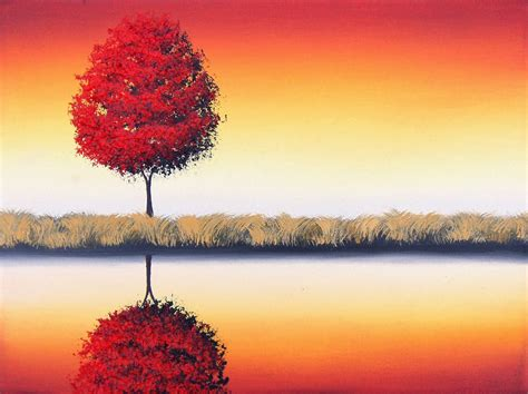 contemporary trees modern art landscape painting red tree contemporary art 12 x 16 original oil painting
