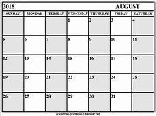 Calendar August 2018 Download & Print Calendars from