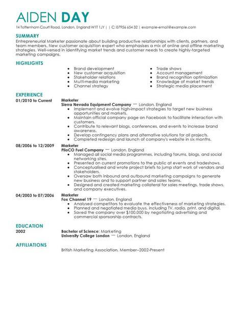 Cv Template For Marketing by Marketing Resume Exles Marketing Sle Resumes