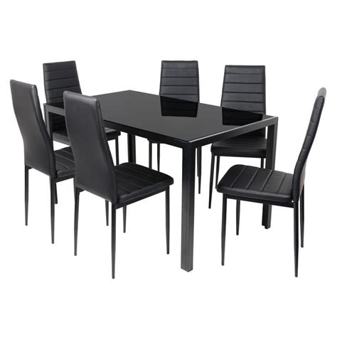 black rectangular glass dining table set with 6 chairs