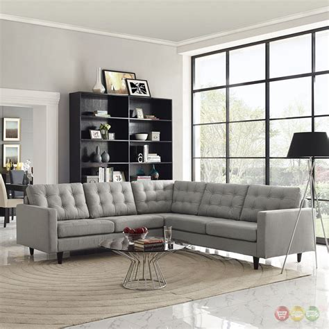 Light Gray Sectional Sofa by Empress 3 Button Tufted Upholstered Sectional Sofa