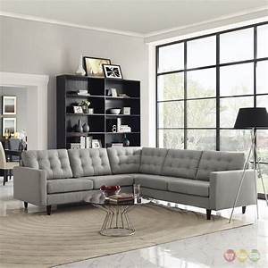 empress 3 piece button tufted upholstered sectional sofa With 3 pieces sectional sofa set