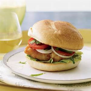 Fried-Fish Sandwiches with Jalapeño-Spiked Tomatoes Recipe ...