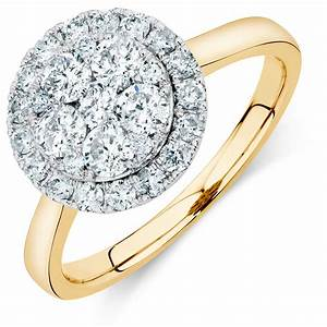 Engagement ring with 1 carat tw of diamonds in 14ct yellow for Wedding rings with yellow diamonds