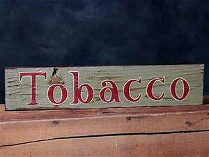 tobacco hand lettered wooden sign by our backyard studio With hand lettered wooden signs