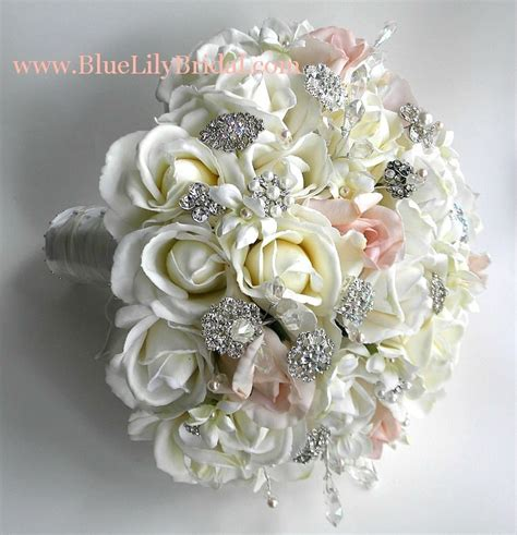 silk flower bridal bouquets real touch brooch bridal