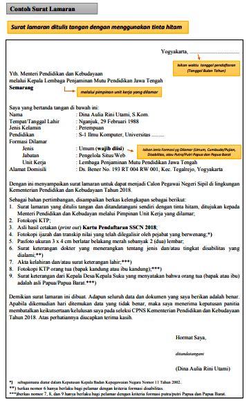 Contoh Surat Lamaran Kemdikbud by Contoh Surat Lamaran Cpns Kemendikbud 2018 List Kerja