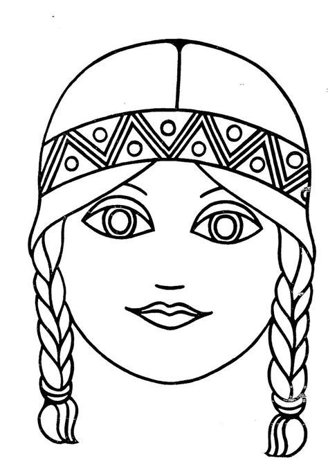disegni ragazze con trecce maschera bambina con trecce disegno da colorare gratis