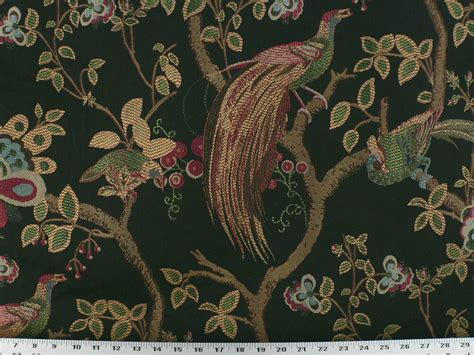 Bird Drapery Fabric - drapery upholstery fabric birds and berries embroidered