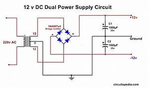 Dc Dual Power Supply Circuit Diagram 12v 15v  9v Regulated