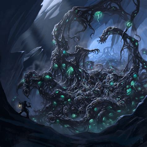 Its body was eyes, mouths, and tentacles   Cthulhu