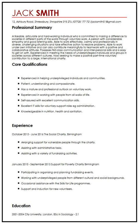How To Write My Cv For Free by Cv Sle For Volunteering Myperfectcv