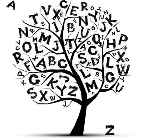 kunst baum mit buchstaben des alphabetfor ihr design