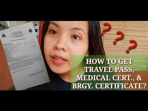 Check spelling or type a new query. How to get Travel Pass, Medical Certificate & Brgy Certificate? | During Covid19 Outbreak ...