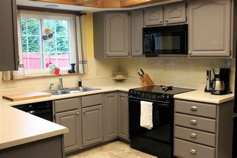 grey painted kitchen cabinets  small kitchen space