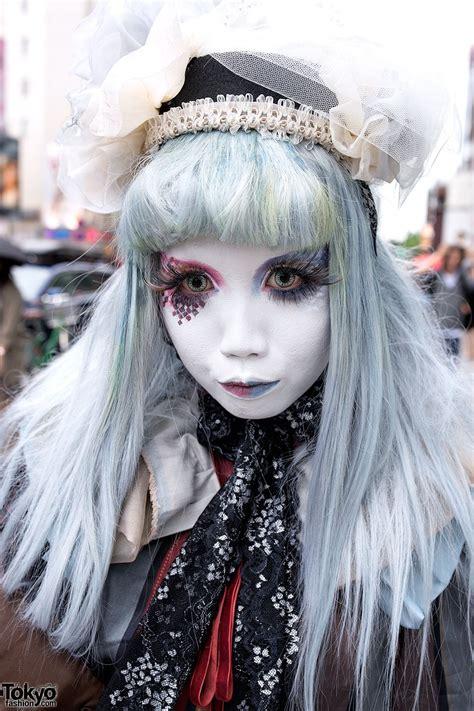 shironuri minori  harajuku  blue red eye makeup lace vintage items