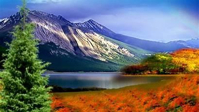 Mountain Fall Autumn Mountains Lake Wallpapers Rainbow