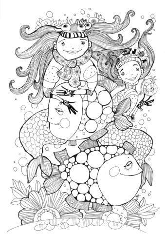 fish  mermaids coloring page  printable coloring pages