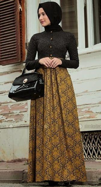 gamis batik kombinasi busana muslim dress batik
