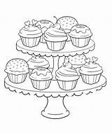 Coloring Pages Cupcake Birthday Food Cute Printable Wedding Adult Cupcakes Azcoloring Delicious sketch template