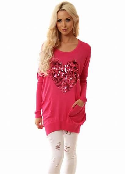 Pink Jumper Heart Oversized Sequinned Js Millenium