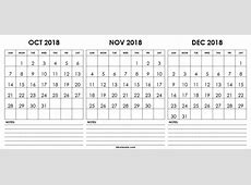 Get October & November & December 2018 Printable Calendar