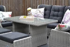 Sofa 3 Sitzer Mit Hocker : valencia verstellbare lounge 3 sitzer sofa light kobo grey mit esstisch und hocker 5 garten ~ Bigdaddyawards.com Haus und Dekorationen