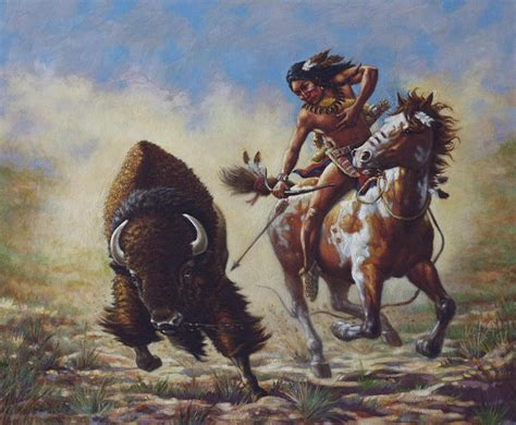 Buffalo Hunter Painting By Harvie Brown
