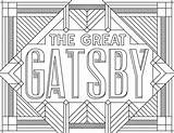 Coloring Gatsby Pages Adult Books Inspired Posters Printable Movies Adults Sheets Library Colour Famous Readers Analysis Literature Printables Deco Program sketch template