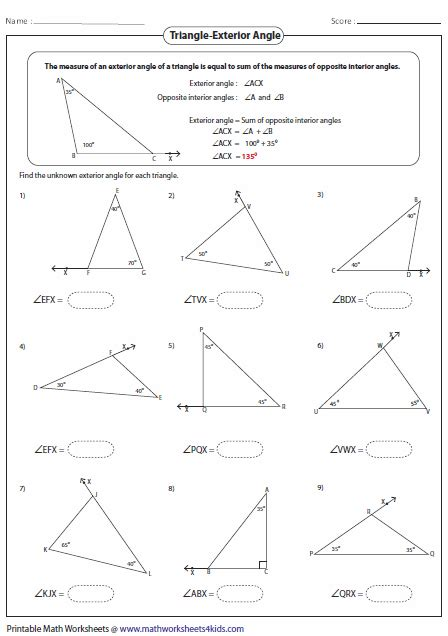 Angle Relationships In Triangles Worksheets Worksheets For All  Download And Share Worksheets