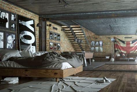 chambre ado style industriel chambre style industriel avec parement en brique et