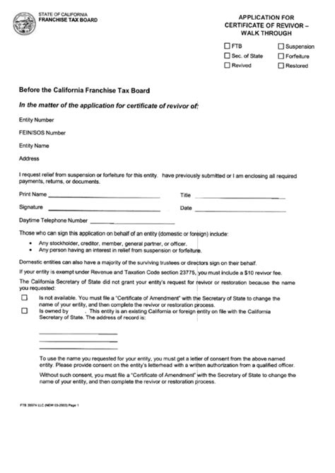ftb revivor form form ftb 3557 a llc application for certificate of