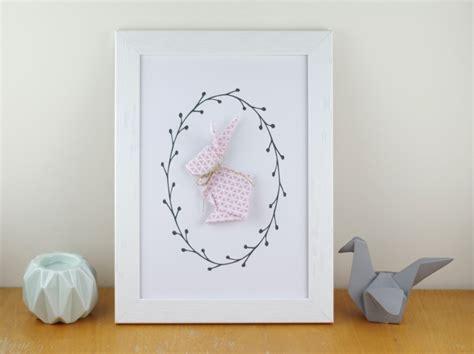 deco murale chambre bebe fille affiche a4 a motif graphique lapin en origami