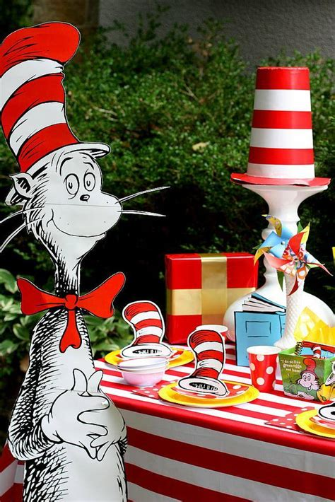 Dr. Seuss Cat in the Hat Birthday Party Ideas
